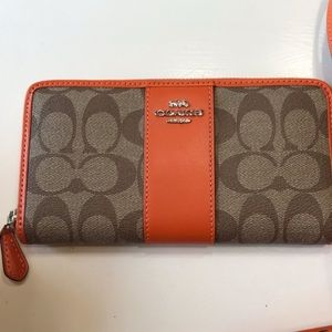 NWT Coach orange wallet